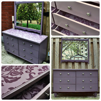 Dresser - Hand Painted - Mirror - Dresser & Mirror - Reincarnated - Plum - Purple  - whimsical
