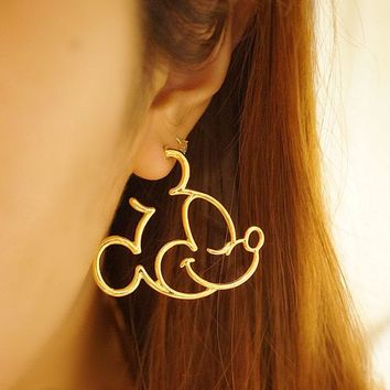 Mickey /Donald Statement Hoop Earrings