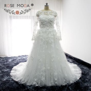 Rose Moda Illusion Long Sleeves Lace Wedding Dress with 3D Flowers Pearl Beaded A Line Maternity Wedding Dresses with Sash
