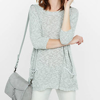 Slub Knit Boxy Pocket Sweater from EXPRESS