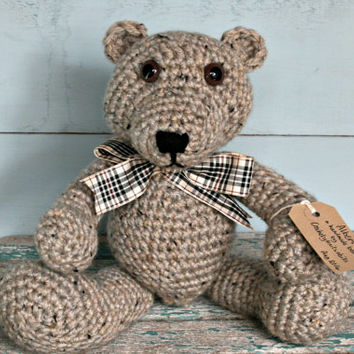 "crochet | bear | handmade | teddy bear | nursery | home decor | soft toy | tweed | Burberry | style ribbon | acrylic and wool | 13.5"" 34cm"