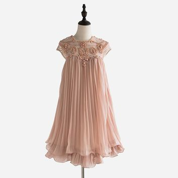 Women Design Elegant Party Casual Vintage Apricot Short Sleeve Lace Pleated Chiffon Dress