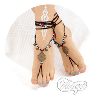 Hippie Barefoot Sandal. Brown Gypsy Shoes. Hippie Barefoot sandals