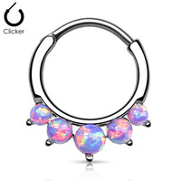 5 Pronged Purple Fire Opal Round Septum Clicker