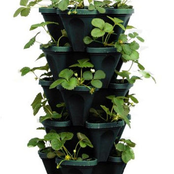 5-Tier Stackable Strawberry Herb Flower & Vegetable Planter - Vertical Garden...