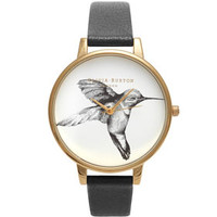 **OLIVIA BURTON ANIMAL MOTIF BLACK HUMMINGBIRD WATCH