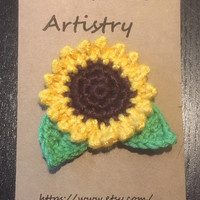 Crochet flower brooch - Rose, Daisy, Sunflower or Black eyed Susan