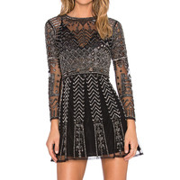 Karina Grimaldi Luna Beaded Dress in Black