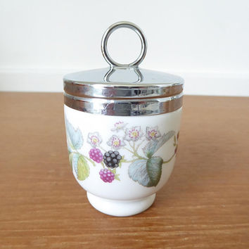 Royal Worcester Lavinia porcelain egg coddler, standard single egg size with raspberries and bramble