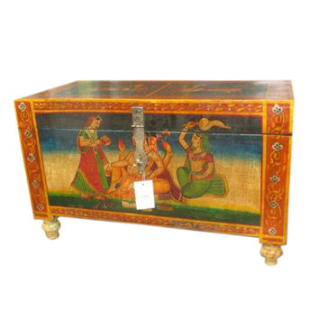 Antique Ganesha Hand Painted Trunk Sideboard Coffee Table Indian Furniture