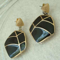 Trifari Black Enamel Cloisonne Post Earrings 1970s Vintage Jewelry