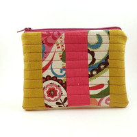 Small Pouch/Patchwork Pouch/Mustard Yellow/Pink/Coin Purse/Zipper Pouch/Ready to Ship