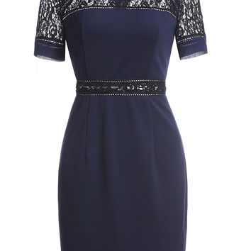 Navy Short Sleeve Contrast Lace Dress