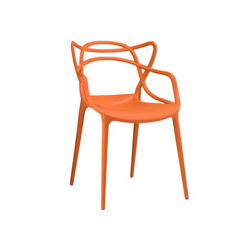 Masters Polypropylene Orange Modern Stackable Arm Chair (Set of 4)