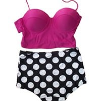Amour -Vintage High Waist Bikini Sets Hot Pink Top+polka Dots Bottom (SJ3110, S)
