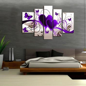 5 Pieces Canvas Painting Modern Modular Picture Wall Art Purple Hearts Canvas Paintings Wall Decor For Living Room No Frame