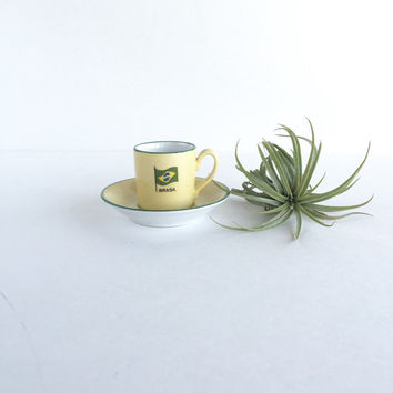 Vintage Collectible Brasil Tea Cup and Saucer, Vintage Small Brazil Demitasse Cup and Saucer