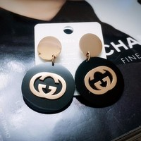 GUCCI Fashion Women Exaggerated Letter Titanium Steel Rose Golden Pendant Earrings Earring Jewelry I11924-1