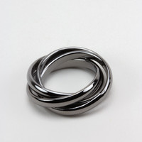 Hematite Interlocking Statement Ring