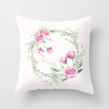 pink floral wreath Throw Pillow by sylviacookphotography