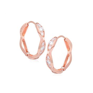 Amora Small Twisted Hoop Earrings with 14K Rose Gold Pin