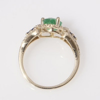 18K Gold 1950's Vintage Inspired Emerald and Sapphire Engagement Ring