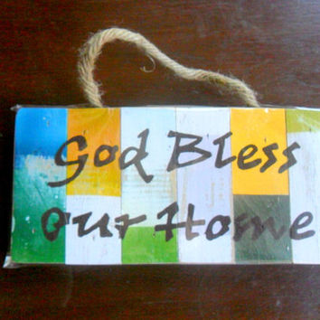 "Wood Sign ""God Bless Our Home"" Rustic Reclaimed Wood Handmade wooden Pallet Sign Wall Hnging Home Decor Custom Hand Painted / Gift 10""X4.75"""