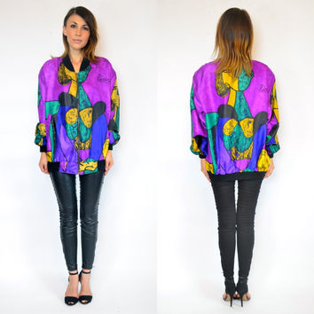 vintage 1980s slouchy PABLO PICASSO chic art hipster BOMBER novelty jacket, extra small-large