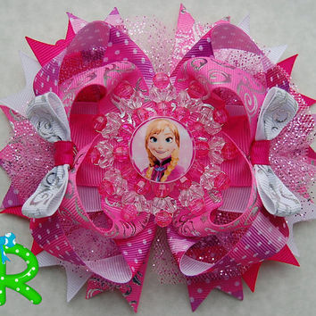 Anna Frozen Hair Bow , Disney Princess Bow , Layered hair bow , Anna Stacked Bow