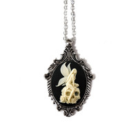 Angel Skull Cameo Necklace
