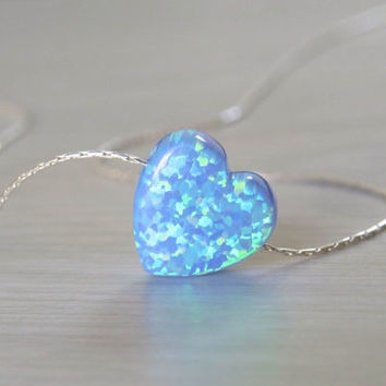 Best blue opal heart necklace products on wanelo opal necklace heart necklace silver necklace opal heart neckl mozeypictures Gallery