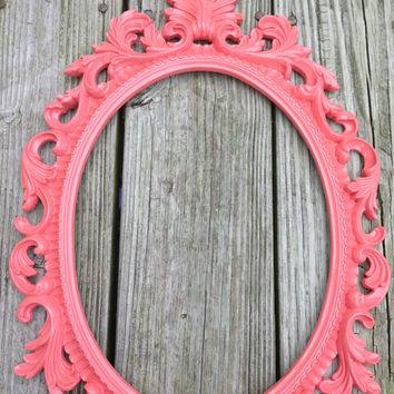Coral oval frame baroque ornate baby nursery decor shabby chic vintage style baby girl nursery decor French country nursery baby room