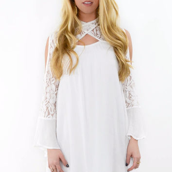 Casablanca Off White Solid Open Shoulder Dress
