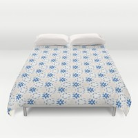 Acrylic Blue Floral Triangles Duvet Cover by Doucette Designs