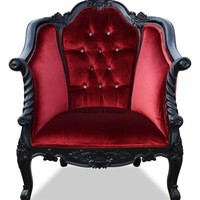 Violette Chair - Black & Red Velvet