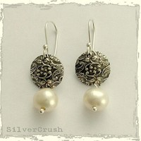 Embossed sterling silver discs with pearl dangles by silvercrush