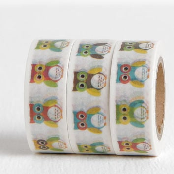 Pop Art Owl Washi Tape, Bright Owls in Pink, Green, Yellow, Turquoise Blue, Brown, 15mm