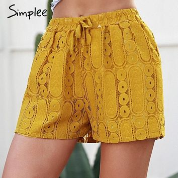 Simplee hollow out lace mini shorts femme Casual tie up yellow shorts summer Fashion elastic waist women shorts