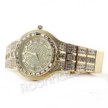 ICIKH7E Iced Out 14K Gold Square Stone Bling Watch Set 51