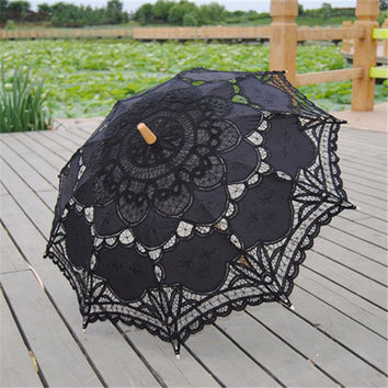 2016 Black Parasol Bridal Wedding Handmade Embroidered Cotton Black Lace Edge Sun Umbrella Bridal Party Decoration Cheap