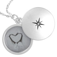 Winter Love - Heart in Snow Round Locket Necklace