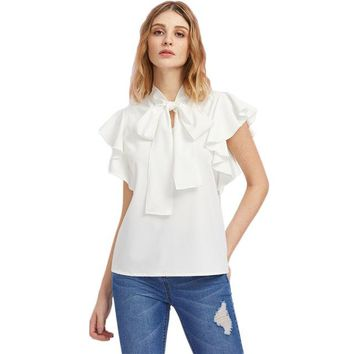 Bow Tie Front Flutter Sleeve Blouse Summer Blouses for Women White Cap Sleeve Tie Neck
