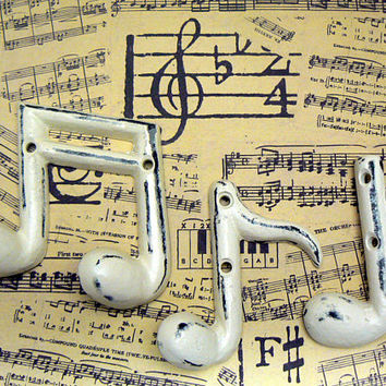 Musical Notes Cast Iron Wall Decor Set Symbols Shabby Style Chic OFF White Quarter ( Crotchet ) Eighth ( Quaver ) Ottava Octave Symbol Note