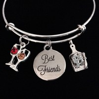 Best Friends Wine Glasses and Cheese Expandable Charm Bracelet Adjustable Bracelet Gift