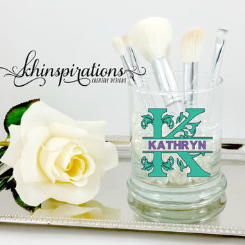 Personalized Monogram Makeup Brush Holder - Make up Brush Holder - Makeup Brushes - Vanity - Cosmetics - Chic - Case - Cup - Brush -Organize