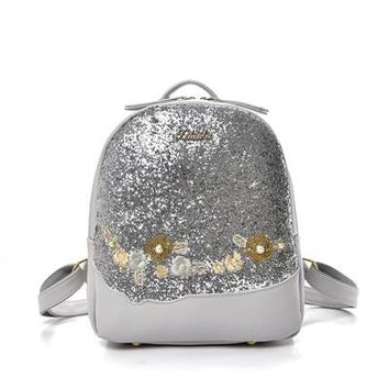 School Backpack trendy Bling Glitter Shining Color Sequins Backpack Women Backpack Floral Embroidery Pu Leather Backpacks Girls Small Travel School Bag AT_54_4