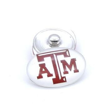 Snap Button 18mmX25mm NCAA Texas A&M Aggies Charms Interchangeable Buttons Bracelet Football Fans Gift Paty Birthday Fashion
