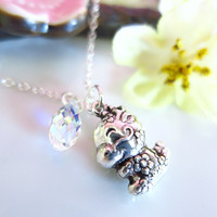 Puffy dragon zodiac charm cherry blossom Swarovski crystal necklace