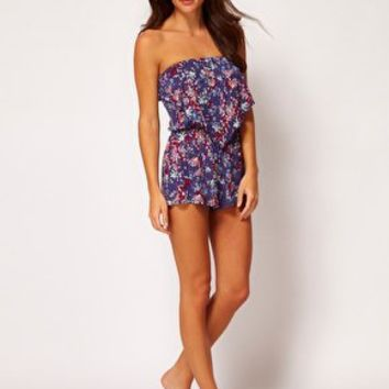 ASOS Floral Print Jersey Bandeau Beach Playsuit at asos.com