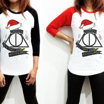 Deathly Hallows  - Santa Claus Hat Xmas Snake Logo Harry Potter Hollywood Women Long Sleeve Baseball Shirt Tshirt Jersey